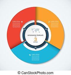 infographic, 布局, template., 3, 矢量, 環繞, 選擇