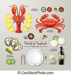 infographic, 平ら, 広告, ビジネス, ありなさい, 食物, シーフード, レイアウト, イラスト,...