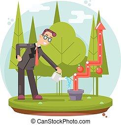 infographic, 平ら, 植物, 成長, 成功, 水まき, イラスト, ベクトル, デザイン, ビジネスマン, 耕しなさい