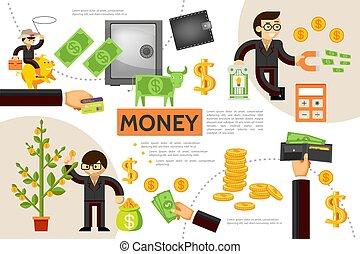 infographic, 平ら, 概念, 金融