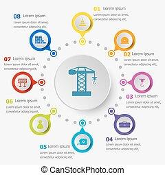 infographic, 建设, 样板, 图标