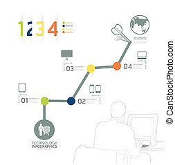infographic, 技術, 設計, 時間線, 樣板, /, 罐頭, 是, 使用, 為, infographics, /, 編號, 旗幟, /, 水平, cutout, 線, /, 圖表, 或者, 網站, 布局, 矢量