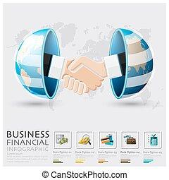 infographic, 握手, 世界的である, 財政, ビジネス