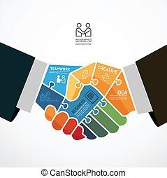 infographic, 握手, 概念, ジグソーパズル, イラスト, ベクトル, テンプレート, ビジネスマン, 旗