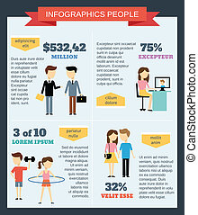 infographic, 放置, 人们