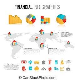 infographic, 放置, 金融