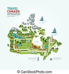 infographic, 旅行, 以及, 界標, 加拿大地圖, 形狀, 樣板, design., 國家, 領航員,...