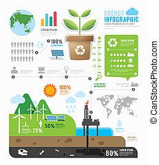 infographic, 概念, エネルギー, イラスト, ベクトル, デザイン, テンプレート