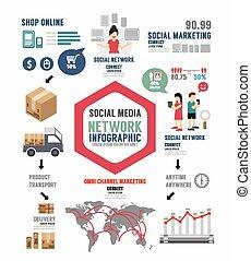 infographic, 概念, ビジネス 実例, ベクトル, デザイン, テンプレート, 社会
