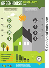 infographic, 概念, 家, エコロジー, デザイン, 緑