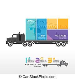 infographic, 概念, 容器, 插圖, 矢量, 卡車, 樣板, 旗幟
