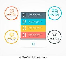 infographic, 概念, 選択, ビジネス, ベクトル, 旗, card.