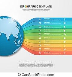 infographic, 樣板, 由于, 全球, 由于, 10, 選擇, 部分, 步驟, 過程, 為, 圖, 圖表, diagrams., 事務, 教育, 旅行, 以及, 運輸, 概念