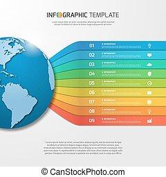 infographic, 樣板, 由于, 全球, 由于, 9, 選擇, 部分, 步驟, 過程, 為, 圖, 圖表, diagrams., 事務, 教育, 旅行, 以及, 運輸, 概念