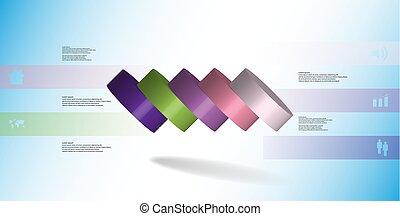 infographic, 水平に, シリンダー, こぼされる, イラスト, 薄く切られる, 部分, 5, テンプレート, 3d