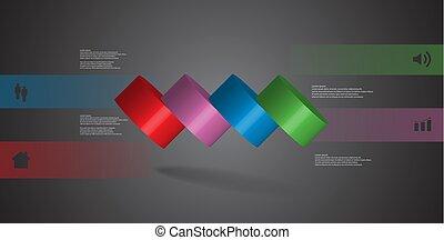infographic, 水平に, シリンダー, こぼされる, イラスト, 4, 部分, テンプレート, 薄く切られる, 3d