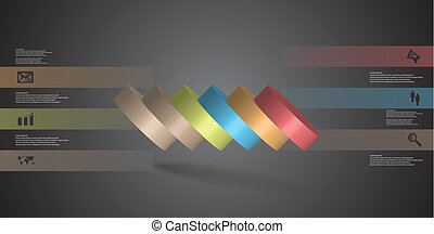 infographic, 水平に, シリンダー, こぼされる, 6, イラスト, 薄く切られる, 部分, テンプレート, 3d