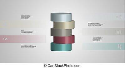 infographic, 水平に, シリンダー, イラスト, 薄く切られる, 部分, 5, テンプレート, 3d