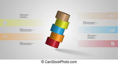 infographic, 水平に, シリンダー, 取り決められた, イラスト, 薄く切られる, 部分, 5, 斜めに, テンプレート, 3d