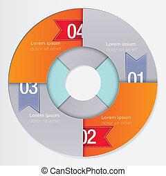 infographic, 現代, 輪, 樣板