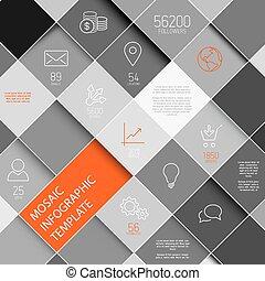 infographic, 矢量, 黑色, 樣板, 白色, 馬賽克