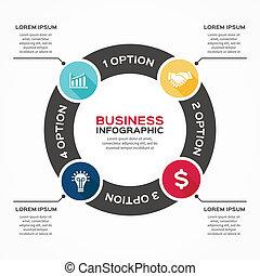 infographic, 矢, 図, ベクトル, 4, 円, オプション