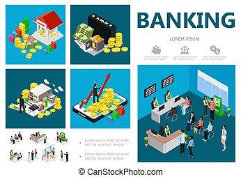 infographic, 等大, 概念, 銀行