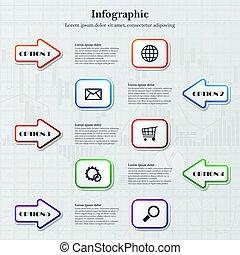 infographic, 箭, 正方形