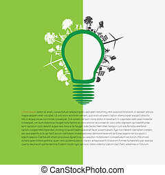 infographic, 綠色, eco, 能量, concep