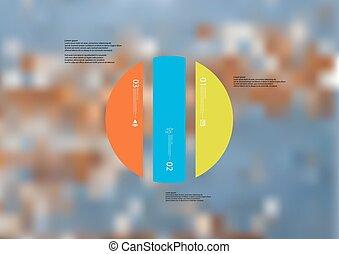 infographic, 縦に, スタンドアローン, 色, 分けられる, 3, イラスト, 部分, テンプレート, 円