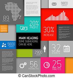 infographic, 背景, 抽象的, イラスト, ベクトル, /, テンプレート, 正方形