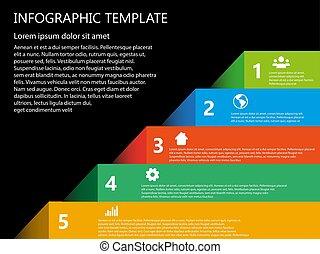 infographic, 色, ベクトル, ステップ, テンプレート, 5, 3d