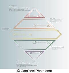 infographic, 色, 分けられる, ひし形, 形, 部分, 5, テンプレート