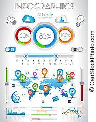 infographic, 要素, -, 品質, セット