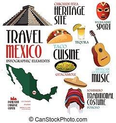 infographic, 要素, 旅行, メキシコ\