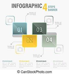 infographic, 要素, 4, ベクトル, ステップ, 六角形, 旗