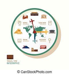 infographic, 觀看, 以及, 旅行, 套間, 圖象, idea., 矢量, illustration., 旅行, 時間, concept., 罐頭, 是, 使用, 為, 布局, 旗幟, 以及, 网, design.