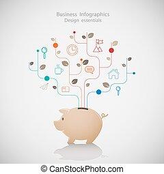 infographic., 計画, セービング, ビジネス