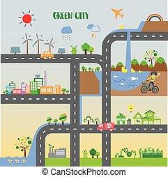 infographic, 都市, エコロジー, 緑