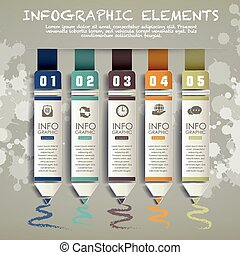 infographic, 鉛筆, 要素, 棒グラフ, 創造的, ペーパー