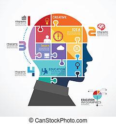 infographic, 頭, 概念, ジグソーパズル, イラスト, ベクトル, テンプレート, 旗