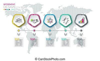 infographic, 5, steps., pentagons, etiket