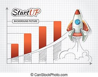 infographic, affari, rocket., su, illustrazione, progetto, inizio, vettore, nuovo