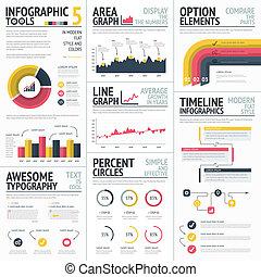 infographic, amarela, elementos, vermelho