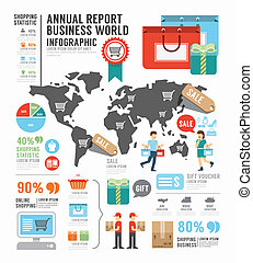 Infographic annual report Business world industry factory...