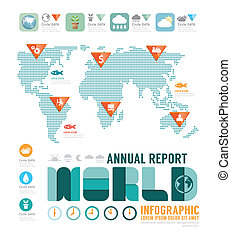 Infographic annual report world template design . concept vector