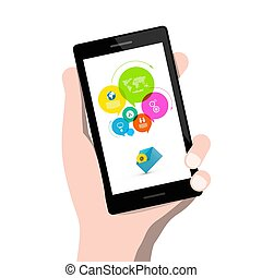 Infographic App on Mobile Phone with Email Icon in Human Hand