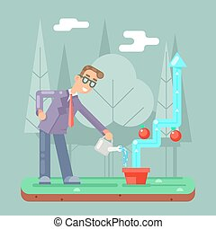 infographic, appartamento, riuscito, irrigazione, illustrazione, vettore, crescita, uomo affari, disegno