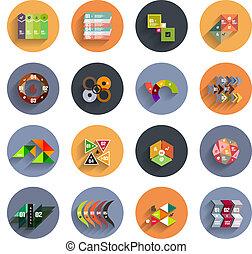 infographic, appartamento, set, colorito, dentro, circles., icona