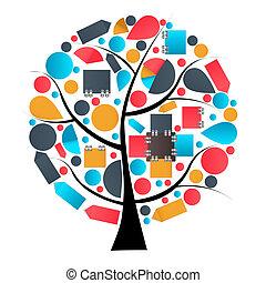 infographic, arbre, illustration, vecteur, conception, gabarit